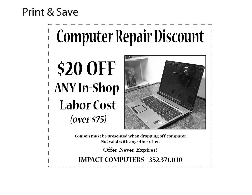 Coupon for impact computers and electronics